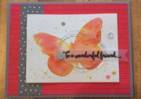 Watercolored painted butterfly card in shades of daffodil delight and watermelon wonder.
