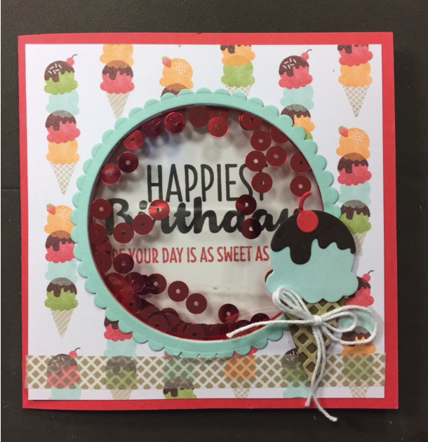 Two window shaker card using Cool Treats patterned paper and accessories