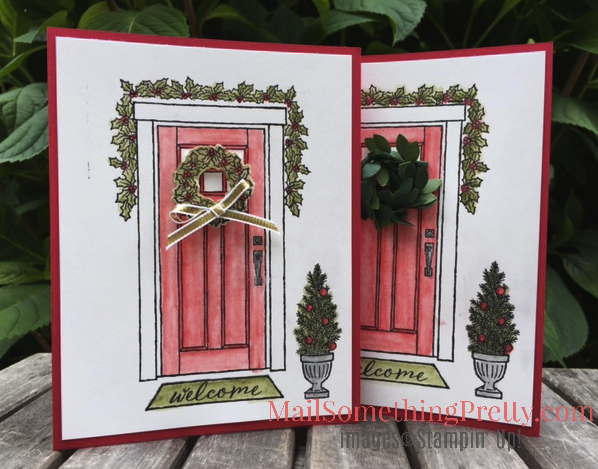 Red Door with Garland