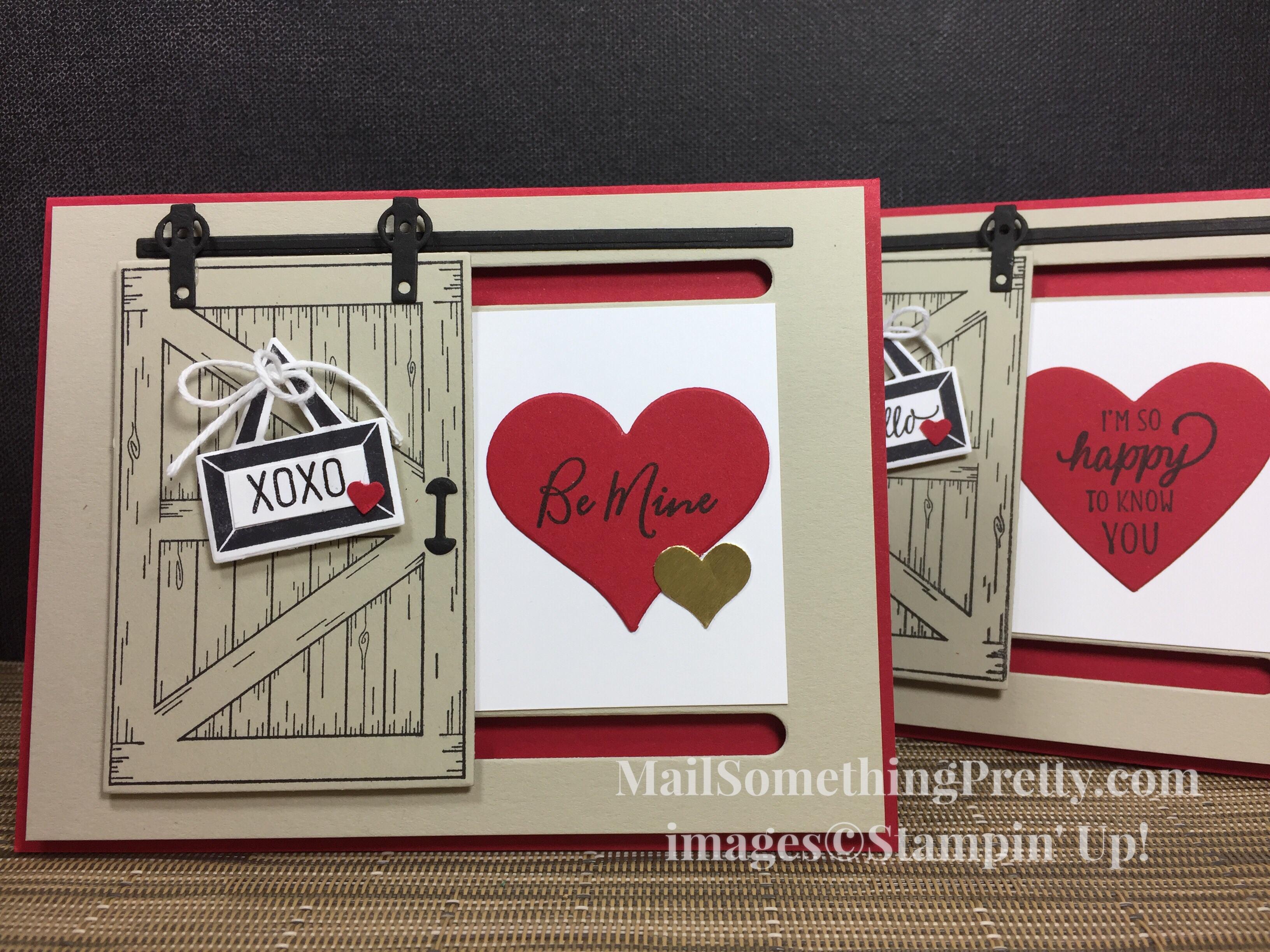 Sliding Barn Door Valentine card